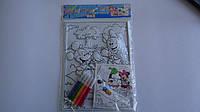 """Пластиковая Раскраска-картина """"Микки Маус"""" с подсказкой,А4,5 фломастеров,скотч двухст.Набор для творчества Рас"""