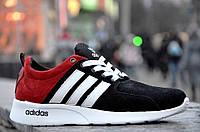 Кроссовки мужские Adidas реплика натуральная кожа замша черно-красные. Со скидкой