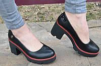 Туфли женские удобная колодка элегантные черные 2017. Со скидкой