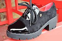 Туфли женские на тракторной подошве замша лак черные удобные. Со скидкой