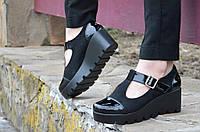 Босоножки, туфли женские на тракторной платформе замша черные удобные. Со скидкой