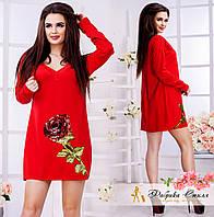 """Яркое женское платье с капюшоном, декорировано пайетками """"Роза"""""""