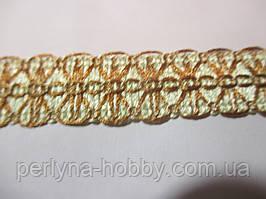 Тесьма декоративная  2 см кремова з бежевою вишивкою