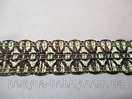 Тесьма декоративная  2 см кремова з коричневою вишивкою