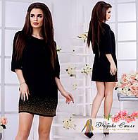 Красивое женское платье-мини, по низу-стразы