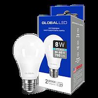 LED лампа Global A60 8W яркий свет 220V AL