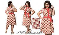 Легкое летнее платье короткий рукав лен клетка размеры 50-56