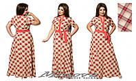 Длинное легкое женское платье лен размеры 52-58