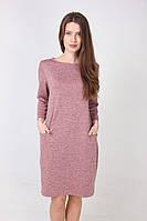 Нежно-розовое повседневное платье с карманами прямого фасона