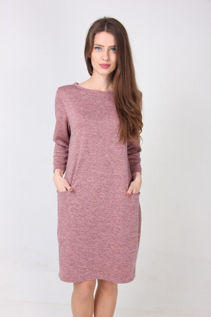 ac2d4018e0d8 Нежно-розовое повседневное платье с карманами прямого фасона -  Оптово-розничный магазин одежды