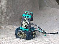 Парные браслеты из кожи РУКА ХАМСЫ (амулет от всех бед) ручная работа