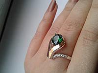 """Серебряное кольцо с золотыми пластинами""""Шедевр"""", фото 1"""