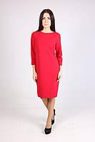 Красное платье прямого фасона на каждый день рукав 3/4
