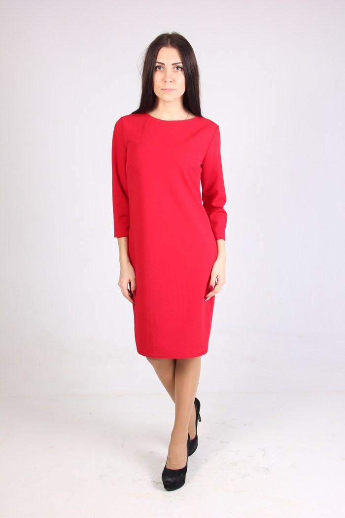 2ccc610920b Красное платье прямого фасона на каждый день рукав 3 4 - Оптово-розничный  магазин