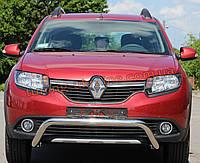 Защита переднего бампера кенгурятник из нержавейки на Renault Sandero Stepway 2014