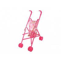Коляска для ляльок пласт. тростина,подвійн. колеса,складна,в кульку,36х24х50см (1)