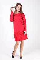 Красное платье свободного фасона  с длинным рукавом и гипюровые вставки