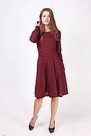 Стильное платье с пышной юбкой из меланжевого трикотажа