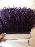 Перьевая тесьма из перьев страуса .Цвет фиолетово черный.Цена за 0,5м