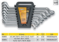 Набор ключей накидных коленчатых (6-22)мм, CrV, 6шт.TOPEX