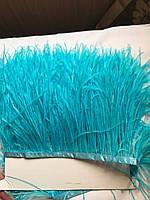 Перьевая тесьма из перьев страуса .Цвет светло голубой.Цена за 0,5м