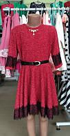 Платье, рукав 3/4 красное 116 см, 122 см, 128 см, 134 см производство Турция