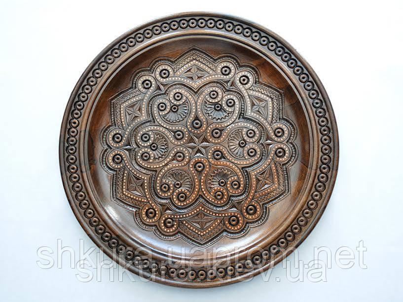 Деревянная декоративная тарелка, фото 1