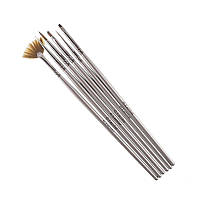 Набор кистей G. Lacolor для наращивания гелем и дизайна ногтей с серой ручкой,6 шт
