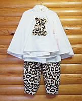 Велюровый комплект для девочки с леопардовым принтом (рост 98, 104, 110) Турция