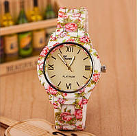 Часы женские наручные Genevа белые цветочные, фото 1