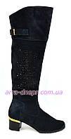 Ботфорты женские зимние на каблуке, натуральная замша синего цвета