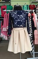 Стильное бежевое платье с поясом на рост 128 см, 140 см, 152 см,164 см Польша