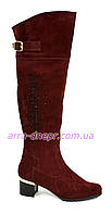 Ботфорты женские зимние на каблуке, декорированы камнями, натуральная замша бордового цвета
