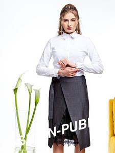 Оригинальная юбка с запахом из костюмной ткани