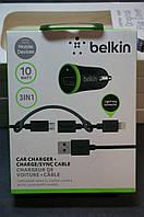 Зарядное устройство в авто BELKIN 1 USB (2.1A) Small 3 in 1 +IPHONE 5/6/7+ MICRO