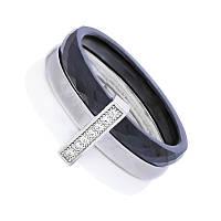 """Кольцо из керамики и серебра трехцветное """"Кэролл"""""""