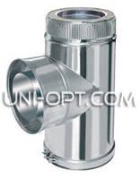 Тройник дымоходный с сажетруской утепленный нерж/оцинк 90° AISI304
