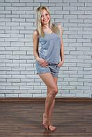 Женская пижама с шортами серая