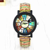 Часы женские в винтажном стиле цветной ремешок