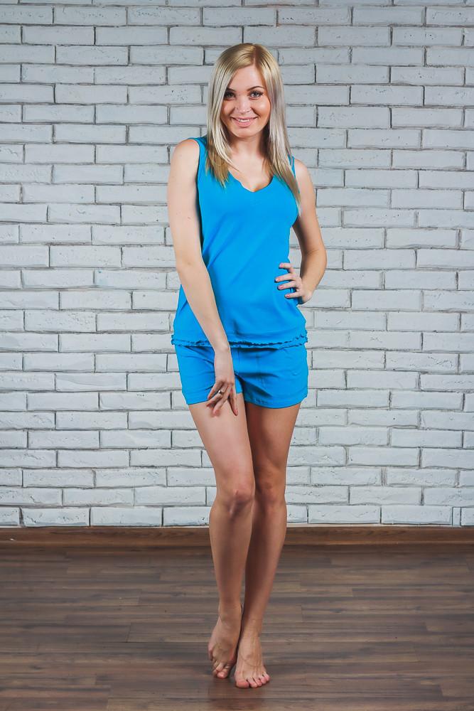 Женская пижама с шортами голубая
