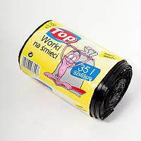 """Мешки (пакеты) для мусора полиэтиленовый (мусорный пакет) Top Pack® 35л 100шт/рулон С """"УШАМИ"""" (ручки) черный"""