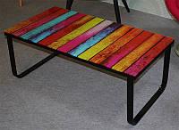 Журнальный столик С-200 каленое 10 мм цветное стекло, каркас крашенный металл, стиль модерн, арт деко