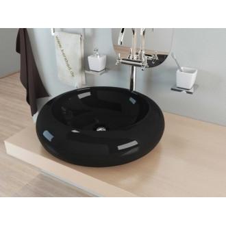 Умывальник накладной Kerabad KBW100s (раковина Kerabad  KBW100s) цвет черный 49*49 Круглая форма