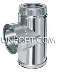 Тройник дымоходный с сажетруской нерж/нерж 90° AISI304