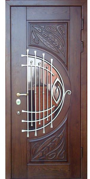 Дверь входная со стеклопакетом и ковкой VIP