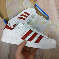 Подростковые кроссовки Adidas superstar белые с красным