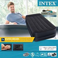 Надувная кровать матрас 64122 Intex (99x191x42см) со встроенным насосом