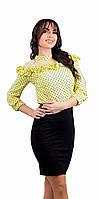 Женская блузка крестьянка в горошек желтая