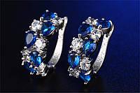 Серьги с цирконием Синий кристалл посеребрение