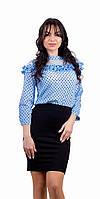 Стильная молодежная блузка в горошек  с рюшкой голубая